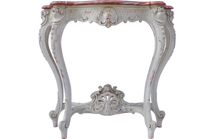 console Louis XV 1900 marble wood