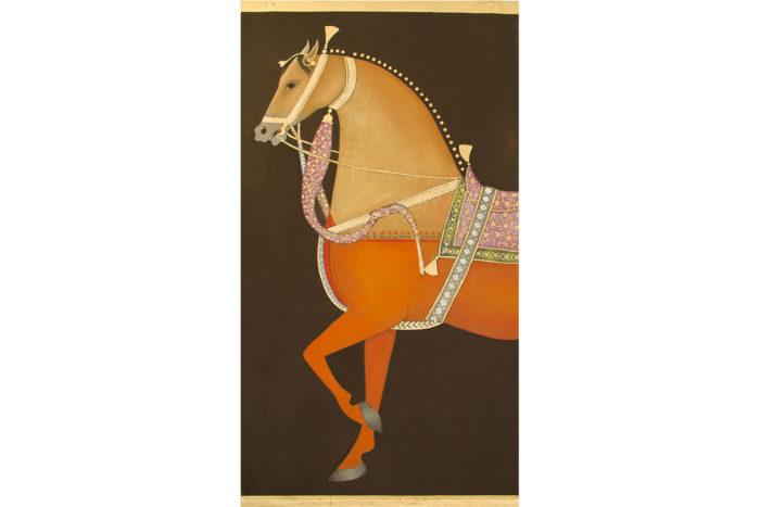 toile lin cheval orange