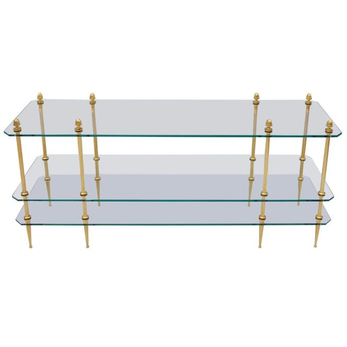 table basse verre laiton