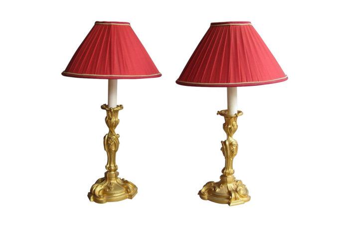 paire lampes rocaille bronze doré