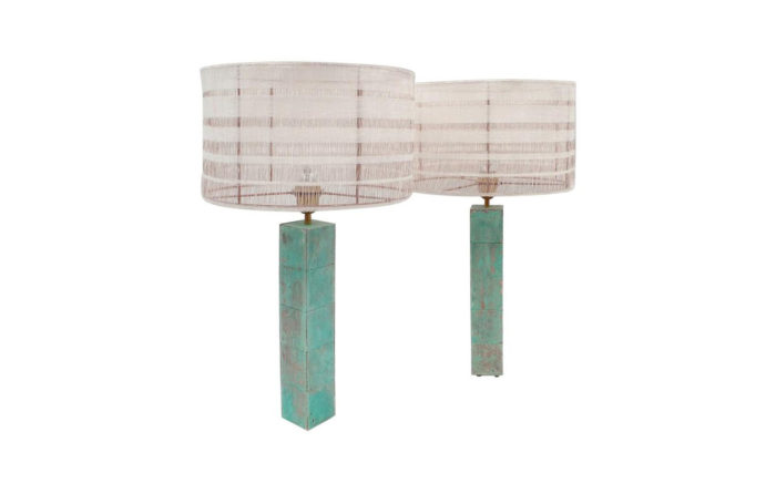 lampes cubes turquoise