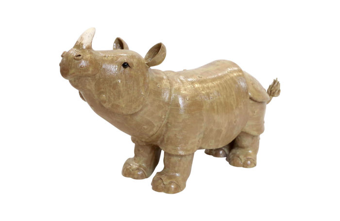 Rhinoceros, glazed stoneware sculpture