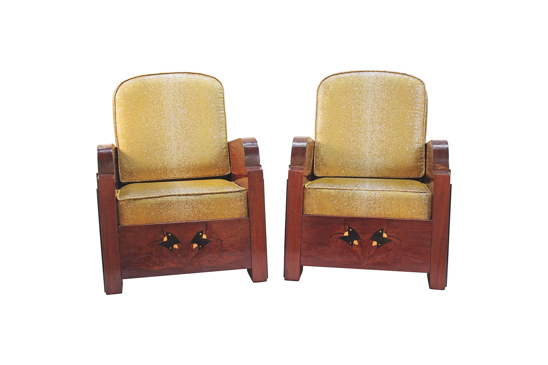 Art Deco Fauteuil.Paire De Fauteuils Art Deco Garniture Style Galuchat Circa 1930