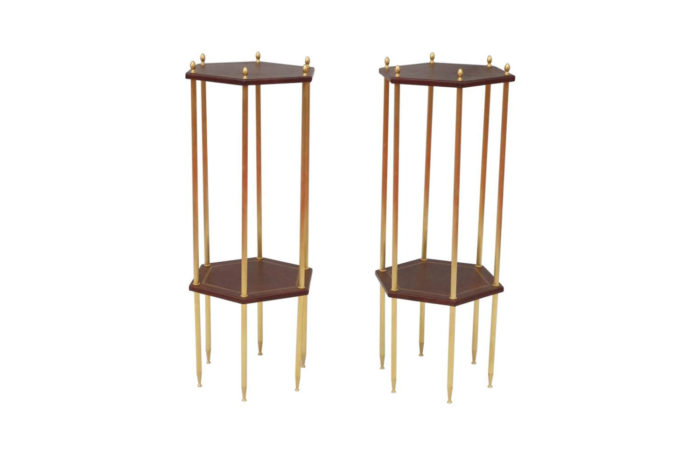 hexagonal leather brass side table