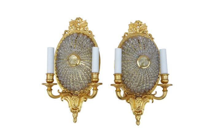 gilt bronze and glass sconces