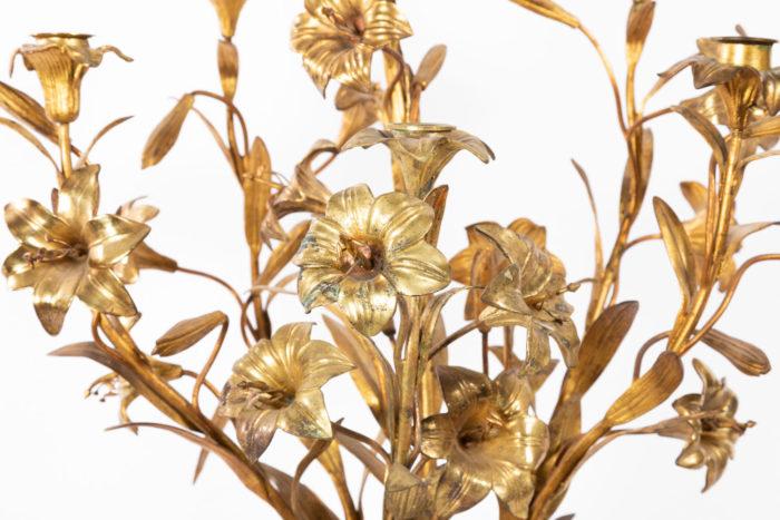 candelabre fleurs bronze laiton doré