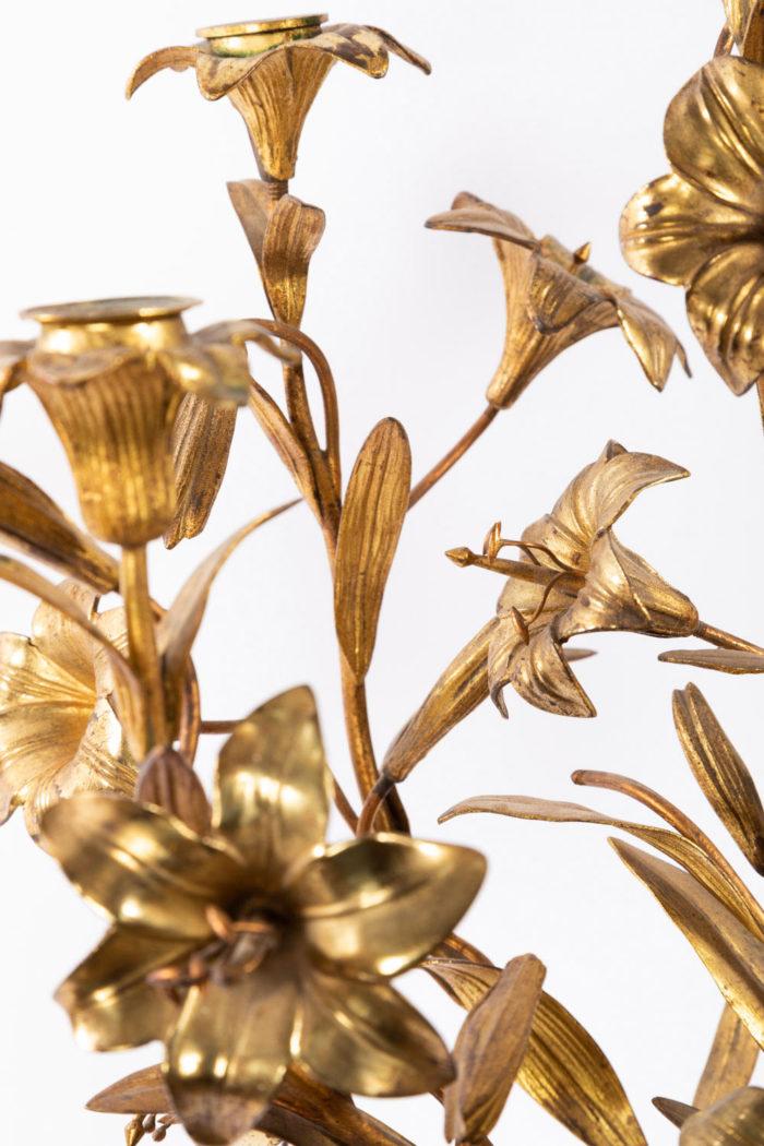 candelabre fleurs bronze laiton doré bobeches