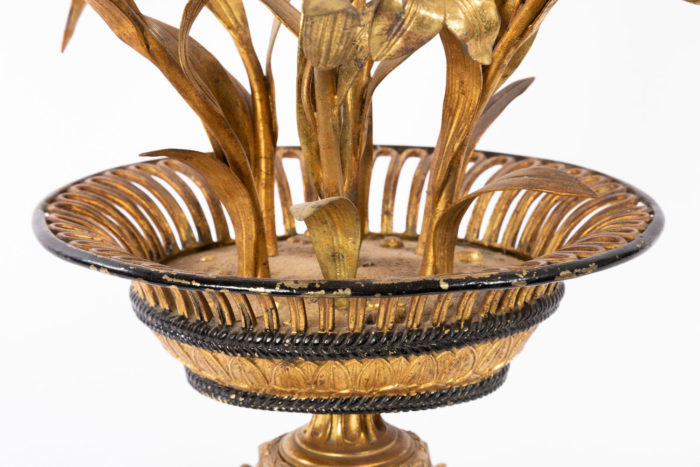 candelabre fleurs bronze laiton doré corbeille