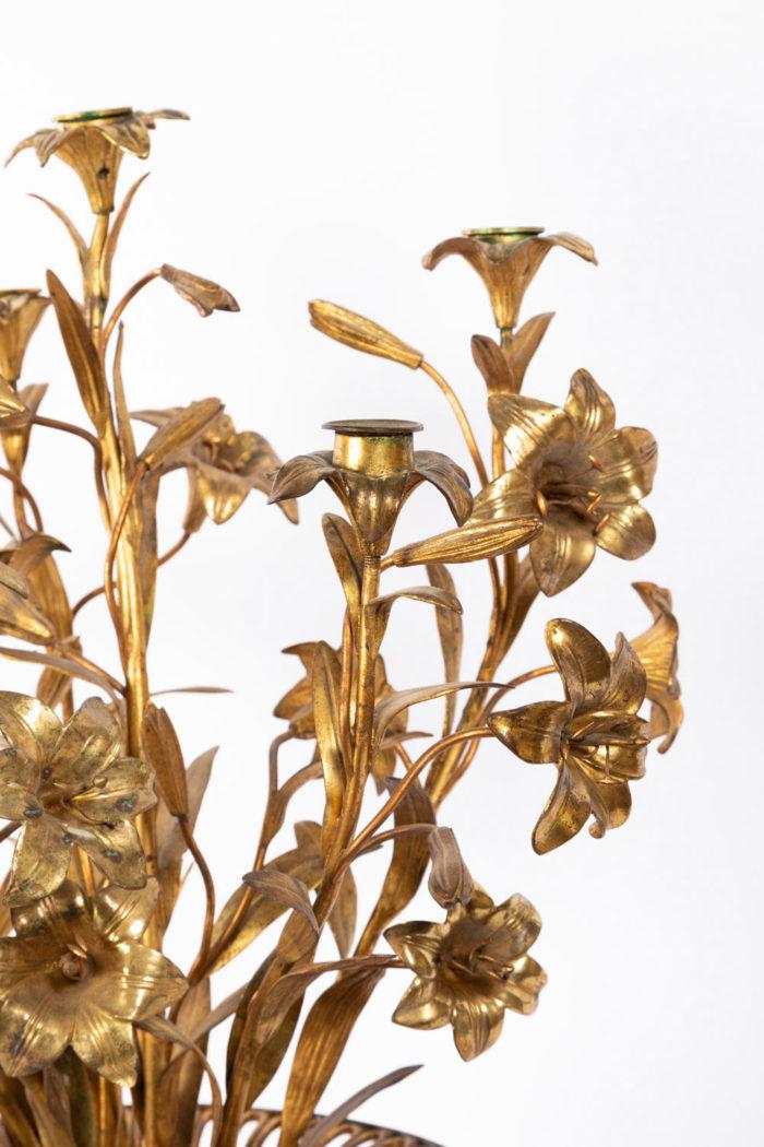 candelabre fleurs bronze laiton doré detail