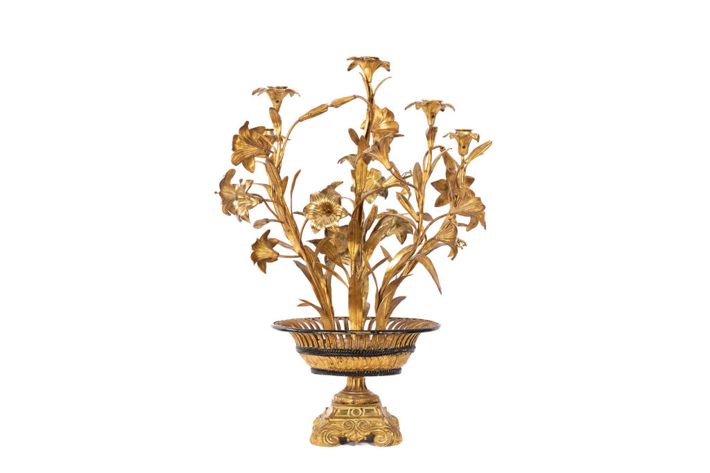 Candélabre aux fleurs, laiton et bronze doré, circa 1880