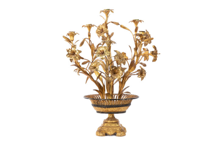 candelabre fleurs bronze laiton doré face 2