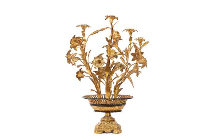 candelabre fleurs bronze laiton doré face