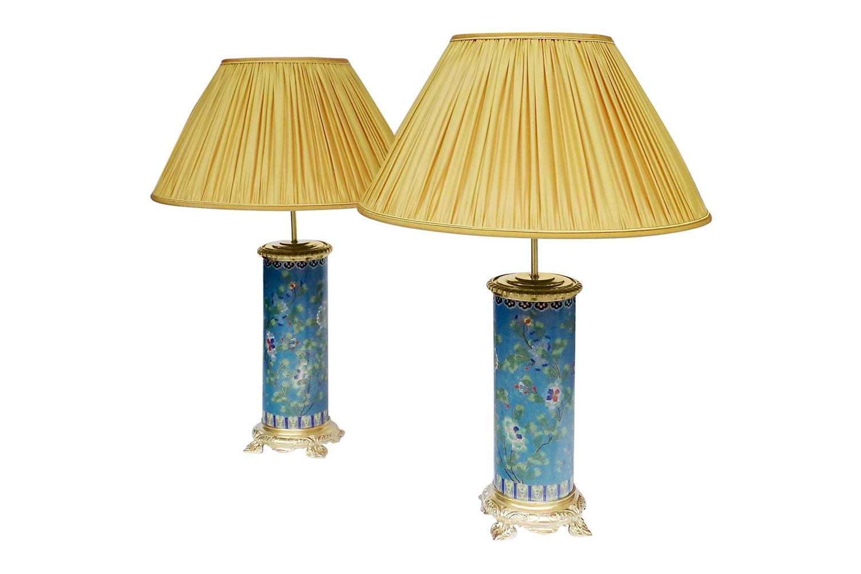 enamel cloisonne lamps gilt bronze