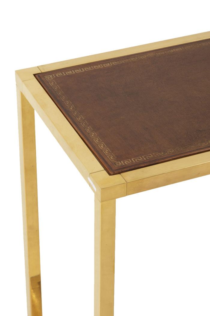console laiton doré cuir plateau