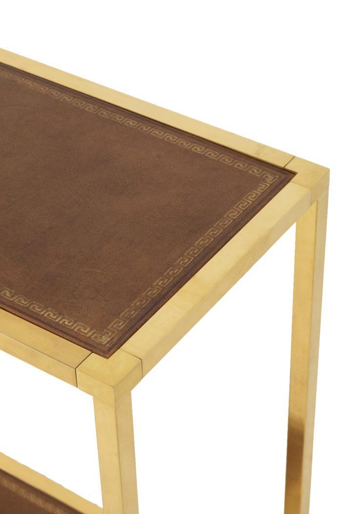 console laiton doré cuir plateau bord