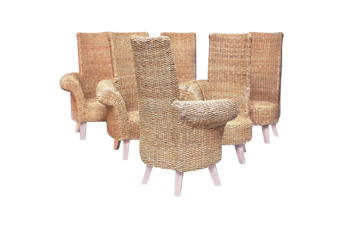 six braided rope armchairs outdoor