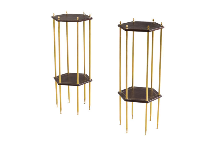 hexagonal side tables leather gilt brass