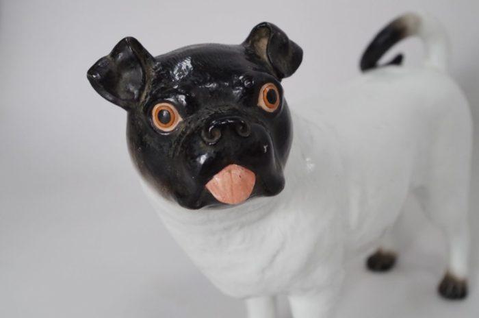 sculpture céramique bouledogue chien