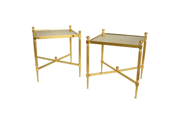 gilt brass mirror side tables