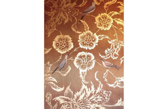 birds foliage linen