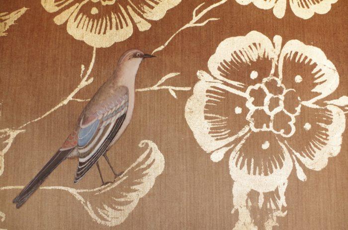 toile de lin feuillages oiseaux