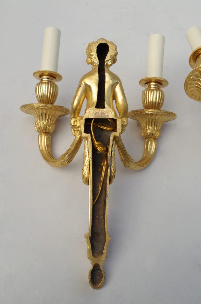 paire appliques putti bronze doré