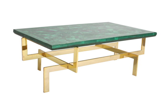 table basse paul legeard malachite laiton doré