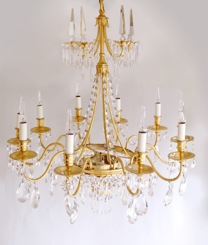 Directoire style chandelier with crystal