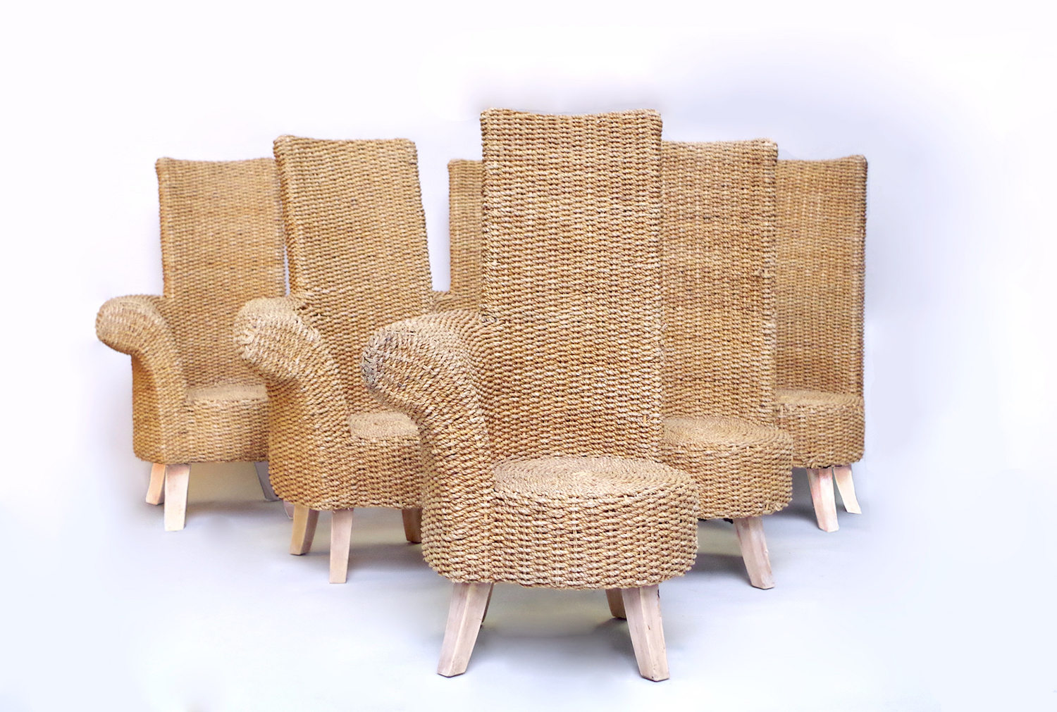 Set of six braided rope outdoor armchairs with one armrest, circa 1960
