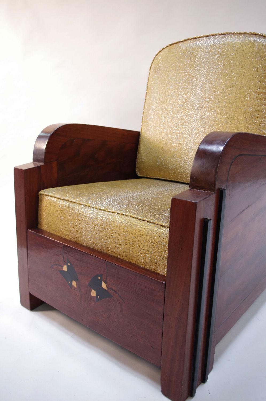 Merveilleux Art Deco Armchair Wood Sharksin
