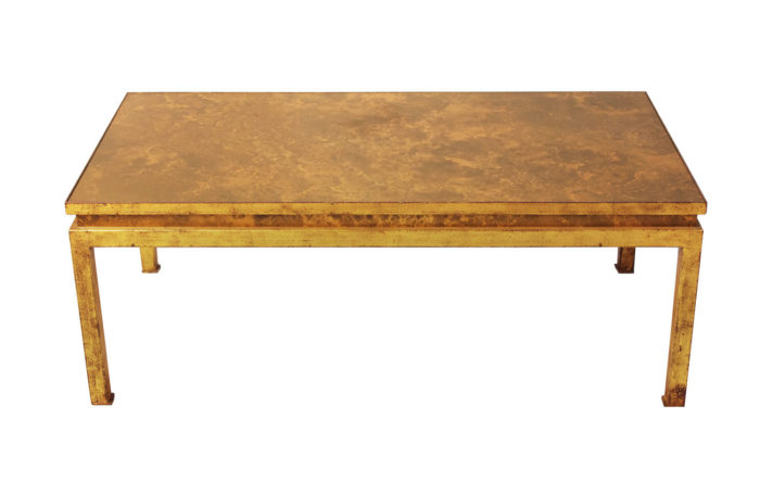 table basse fer forgé doré verre églomisé
