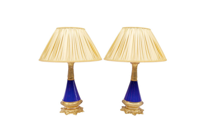 conical blue lamps