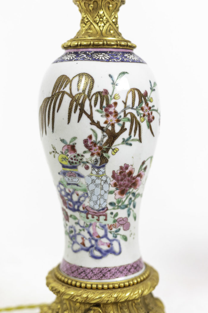 lampes porcelaine chinoise famille rose fleurs 2
