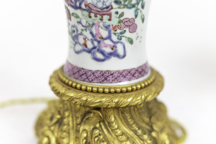 lampes porcelaine chinoise famille rose frise