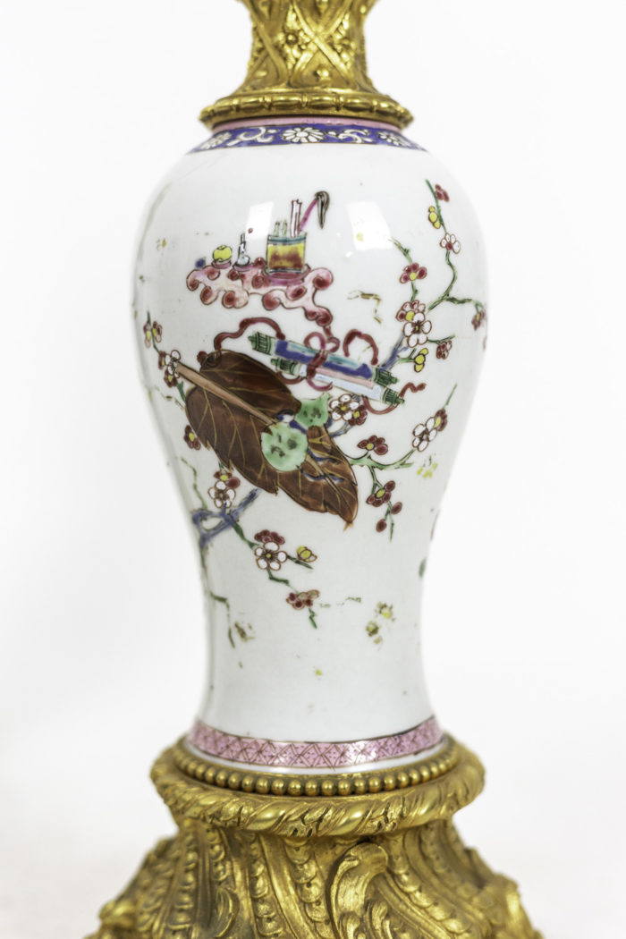 lampes porcelaine chinoise famille rose outils
