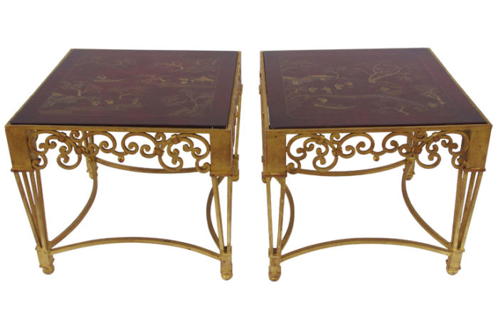 red lacquer wrought gilt iron side tables