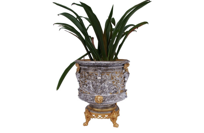 terracotta gilt silvered planter