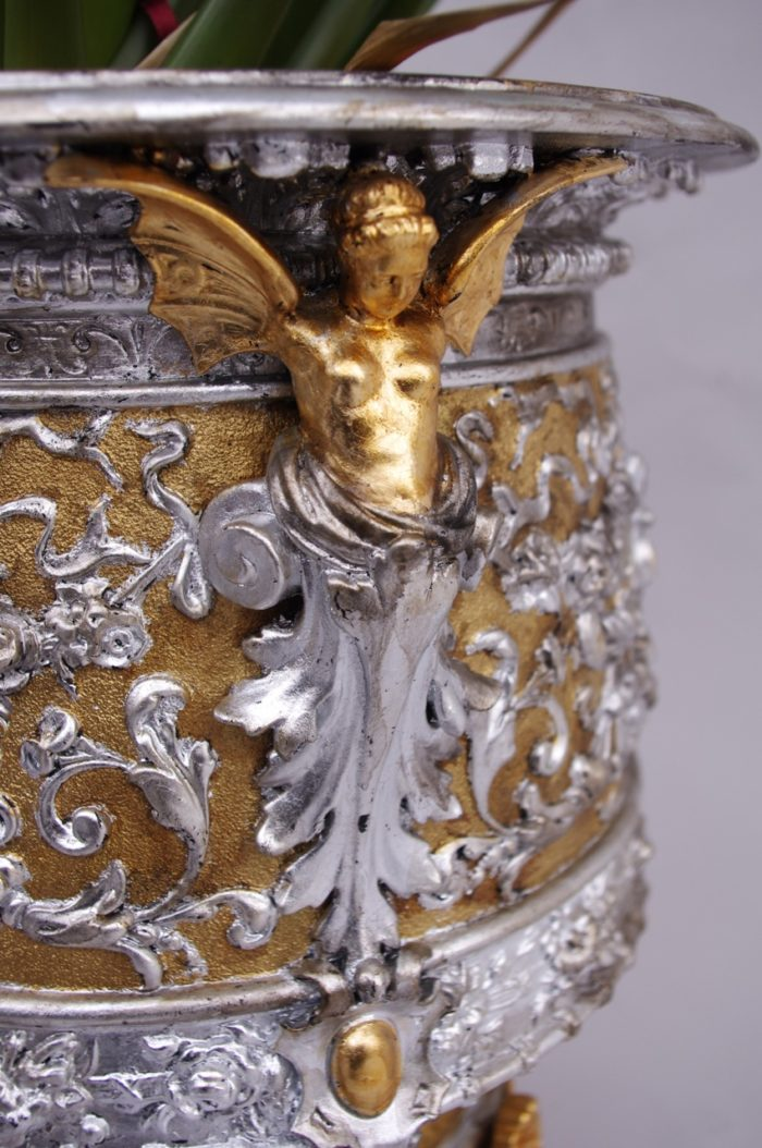 terracotta gilt silvered planter