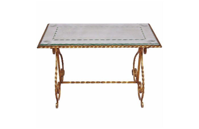 coffe table wrought gilt iron mirror