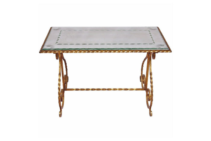 table basse lyre fer forgé miroir