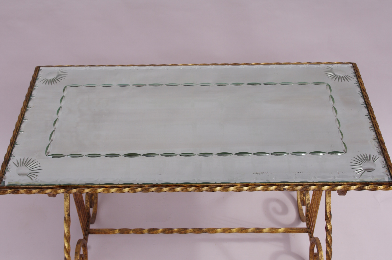 Table Basse En Fer Forge.Table Basse En Fer Forge Dore Et Miroir Circa 1950