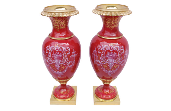 red porcelain vases