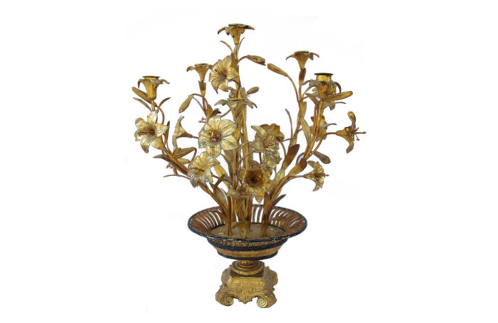 bronze brass candelabra flowers