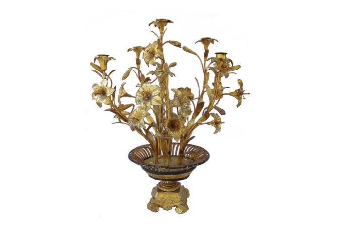 candélabre fleurs laiton bronze doré