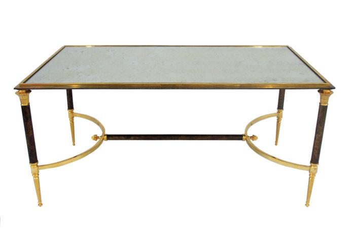 table basse métal doré médaille jansen