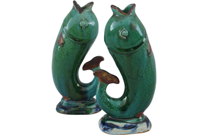 Enameled stoneware fish-shaped soliflore