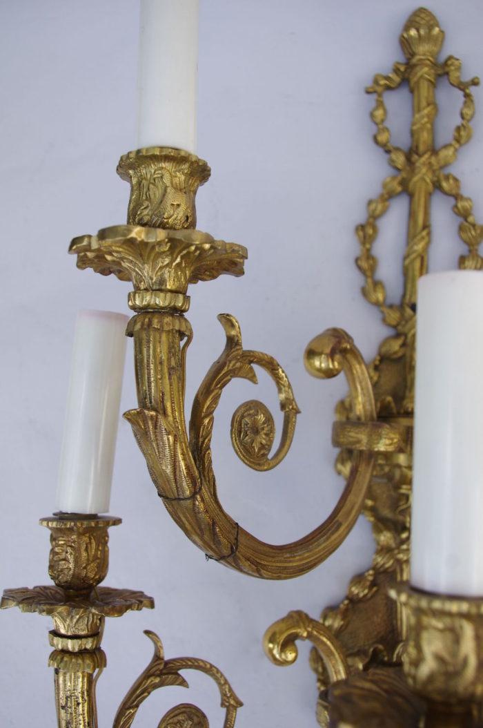 paire d'appliques à deux rangs bronze doré