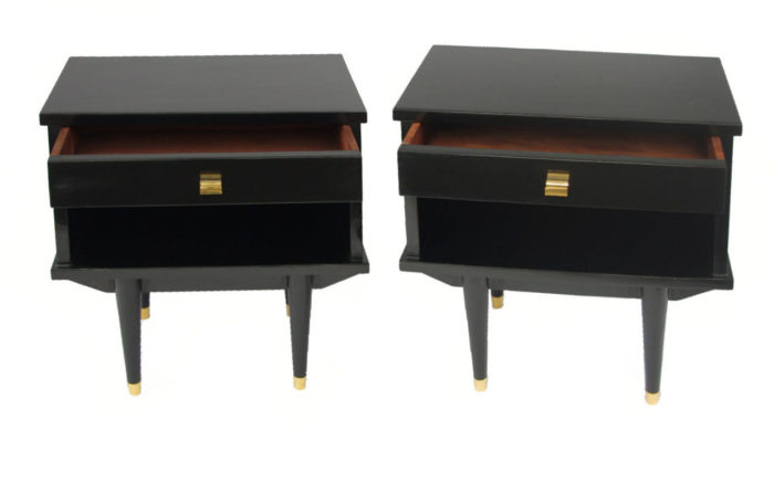 black lacquered bedside tables