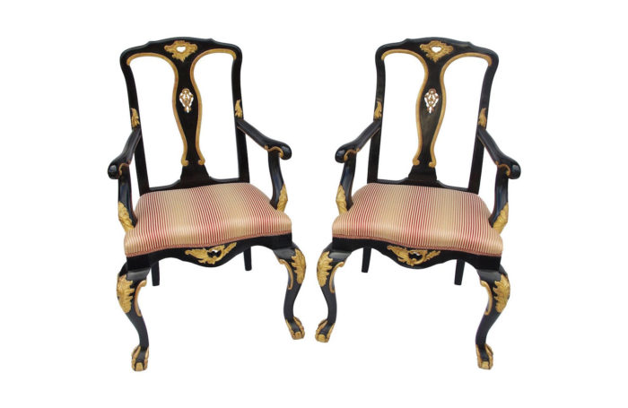 chippendale lacquered wood armchairs