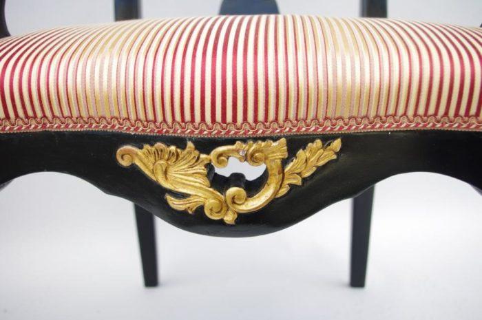 fauteuils chippendale laques noir